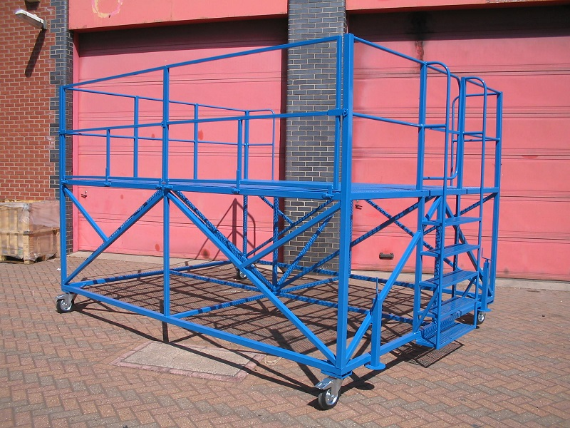 Bespoke platform with access steps and safety gate