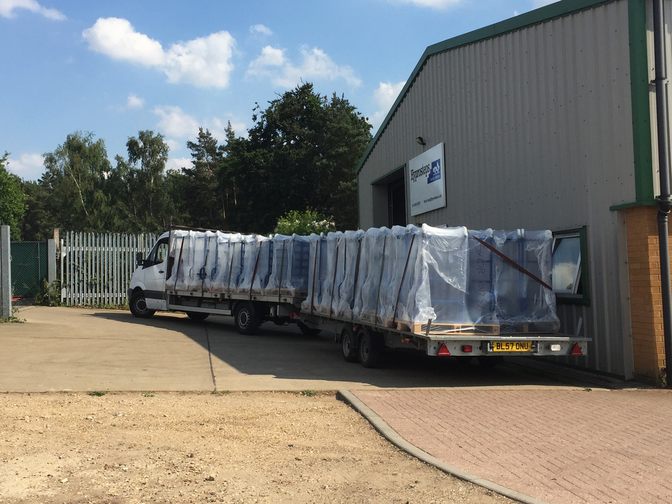 lorry loaded with safety steps outside Hyprosteps factory